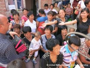 Distributing Bibles.