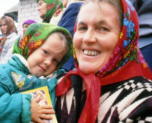Woman and child in the Udmurt Republic.