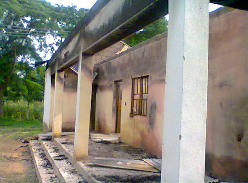 The charred remains of the Bura Bible translation centre