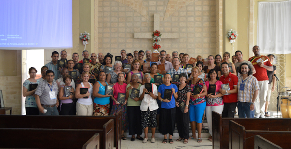 Some of the many people we've been working with in Cuba. What a joy to see people get their very first Bibles!