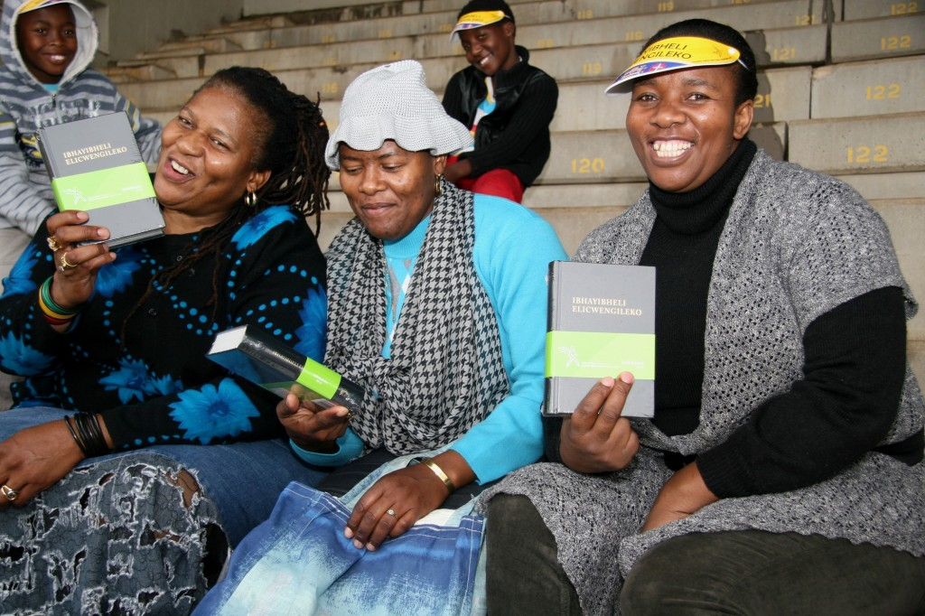 South African women with copies of the Ndebele Bible.