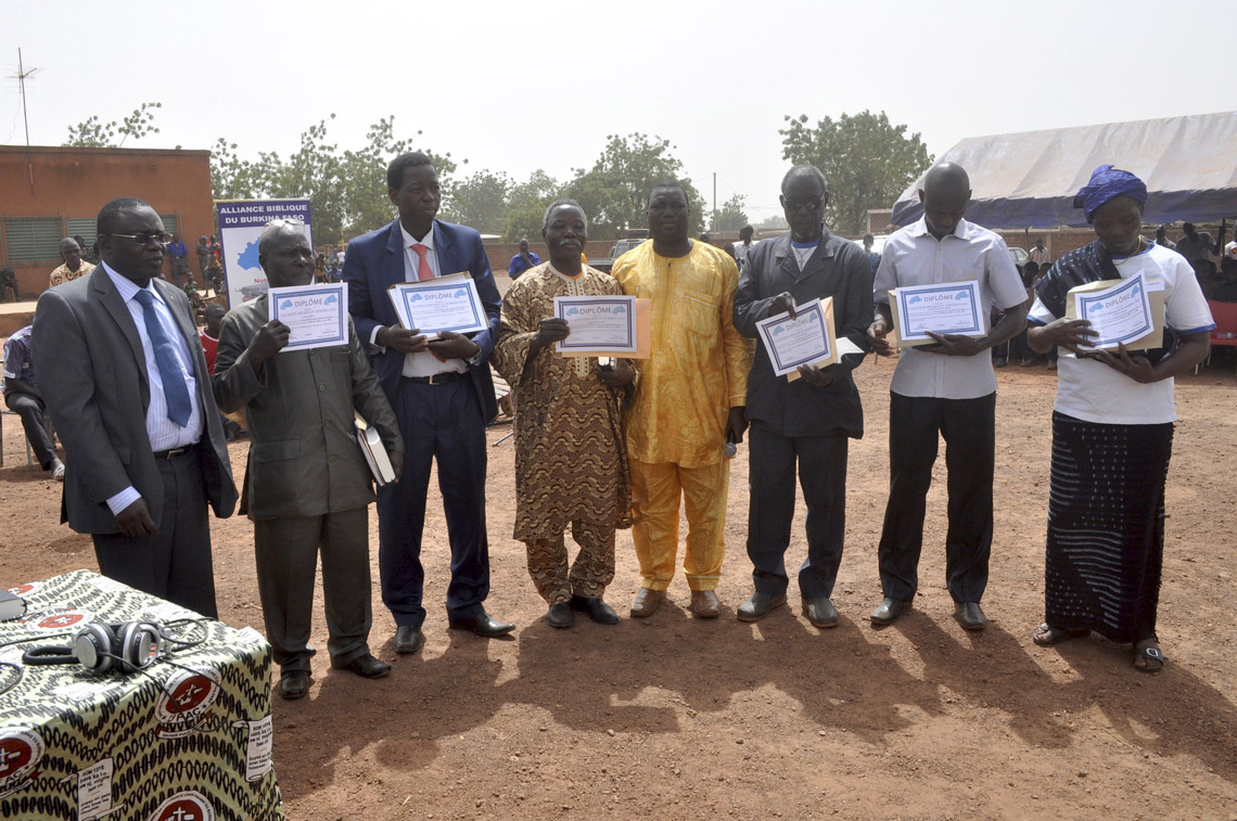 The San Bible translators with their certificates.