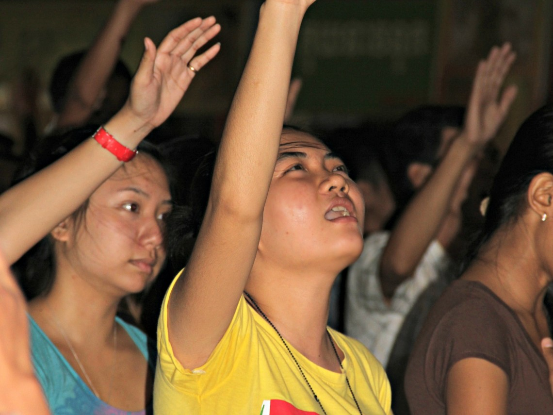 Young people in a church in Cambodia - Modern Khmer Bible