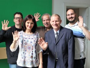 József Kéri (right) with the rest of the Hungarian Sign Language translation team and Hungarian Bible Society General Secretary Ottó Pecsuk (left).